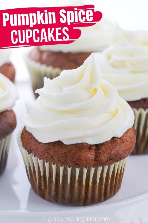 Perfect, tender pumpkin spice cupcakes with a luscious vanilla cream cheese buttercream frosting. These easy pumpkin cupcakes are the ultimate fall dessert - whether as a fun family dessert or a fall party treat
