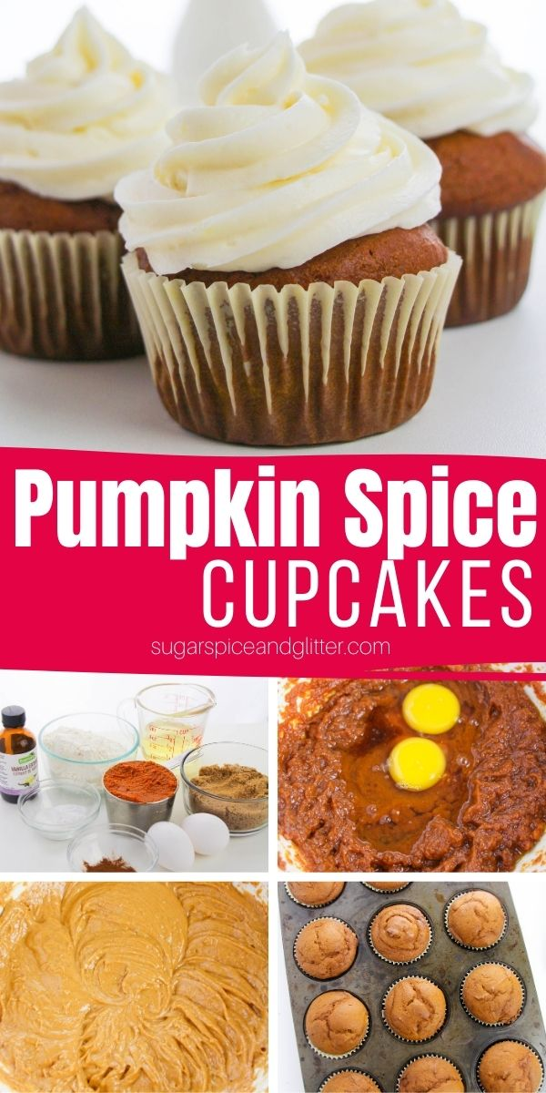 How to make the best pumpkin spice cupcakes with a luscious vanilla cream cheese buttercream frosting. These pumpkin cupcakes can be frozen to make your fall party planning a whole lot easier!