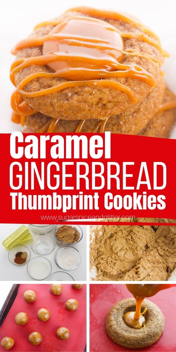 How to make caramel gingerbread thumbprint cookies, a unique gingerbread cookie recipe with a luscious, soft caramel center. These Christmas cookies are a fun twist on a classic thumbprint cookie and the perfect addition to your Christmas cookie exchange