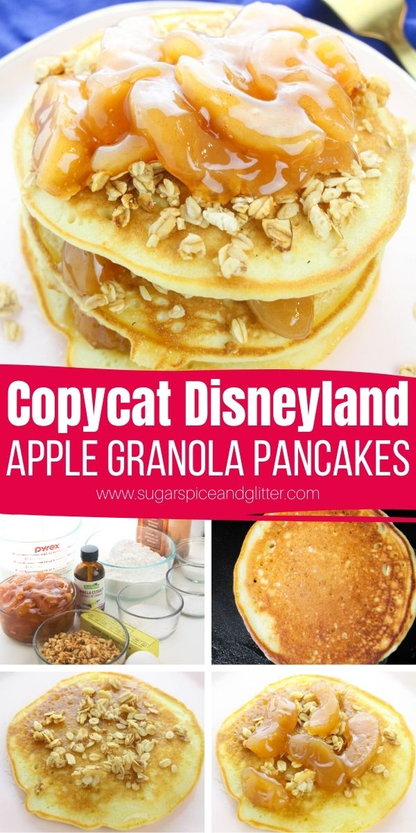 You may not be able to visit Disneyland, but you can still eat like it with these copycat Disneyland Apple Granola Pancakes. Cinnamon buttermilk pancakes are topped with crunchy granola and homemade skillet apple pie filling. Perfect for an indulgent brunch or unique apple dessert
