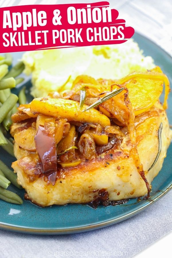 An easy weeknight meal ready in less than 30 minutes, these skillet pork chops with apples and onions are the perfect blend of savory and sweet.
