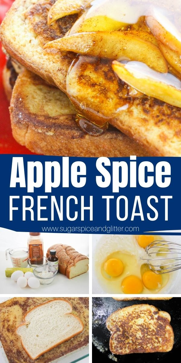 How to make apple pie french toast - cinnamon spiced french toast topped with cooked apples, for an indulgent fall brunch recipe that comes together quickly and easily.