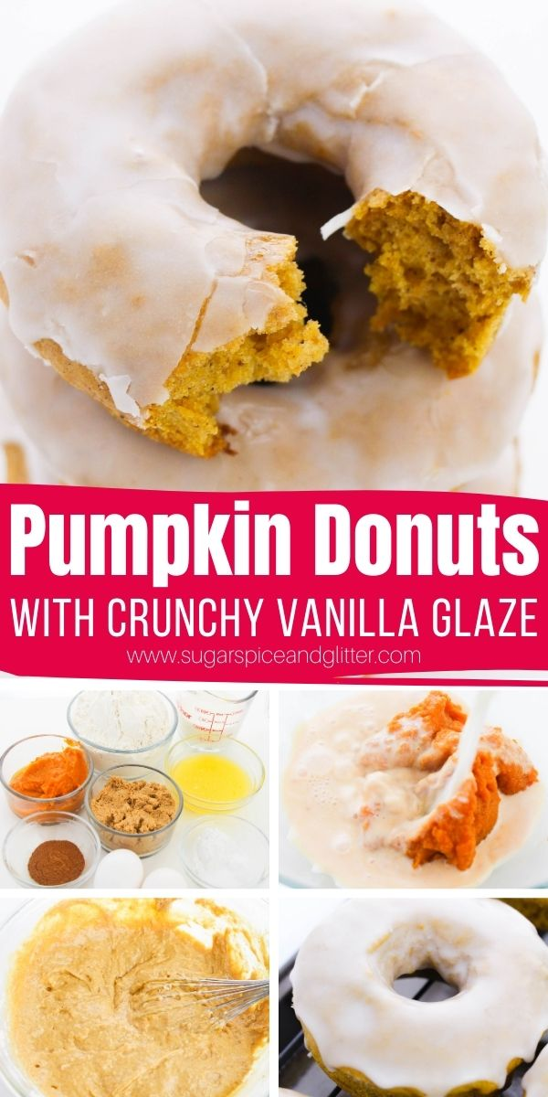 Delicious baked pumpkin donuts with real pumpkin and plenty of pumpkin spice! Topped with a no-cook, crunchy vanilla glaze, these pumpkin donuts are a PSL lover's dream! Perfect for brunch, an afternoon treat or an indulgent fall dessert