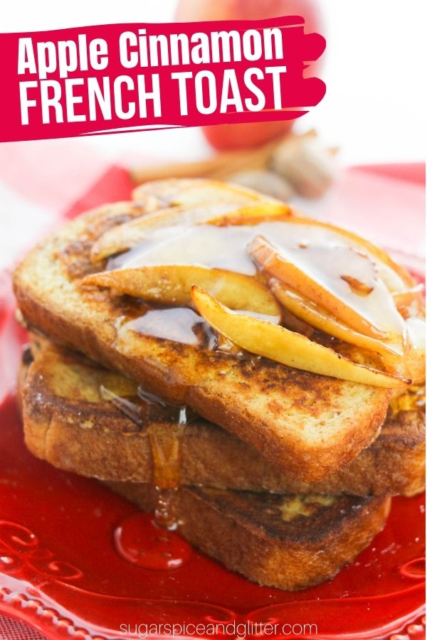 The perfect fall brunch recipe - Apple Cinnamon French Toast topped with cinnamon-spiced, cooked apples. This french toast tastes incredibly indulgent while staying light, perfect for a unique dessert or freezing for easy weekday breakfasts