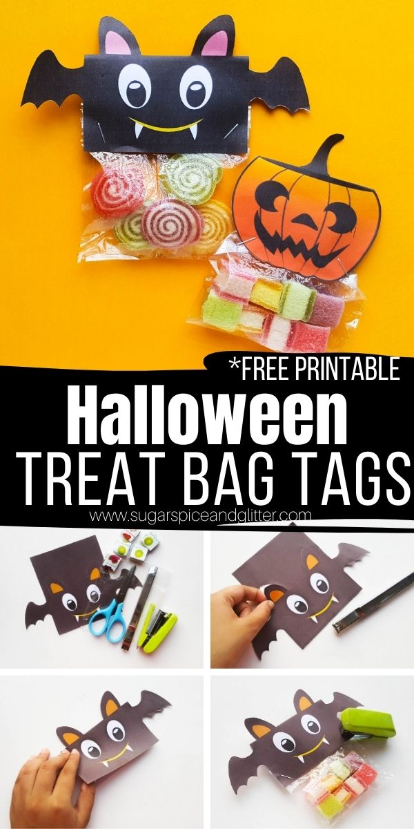 A sweet, not spooky, way to personalize your classroom treats or trick or treat bags: Halloween Treat Bag Tags. Super easy for kids to help with