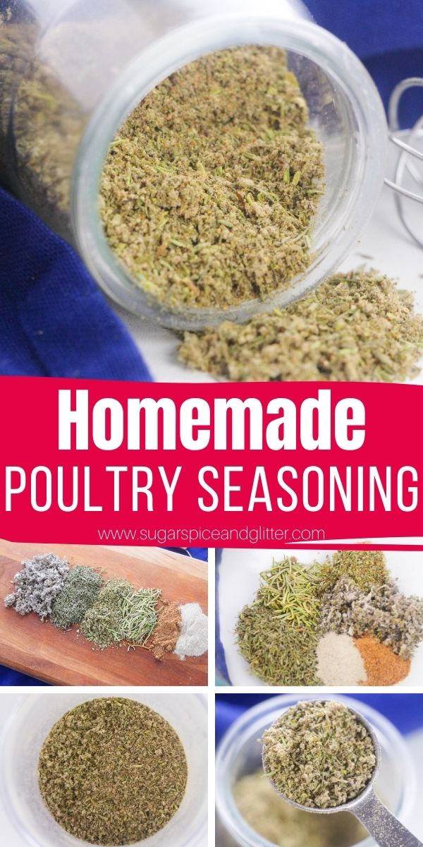 How to make homemade poultry seasoning with just six common pantry staples - plus recipes to use your homemade seasoning blend in! This poultry seasoning adds amazing flavor to your favorite chicken recipes - and pork recipes, too!