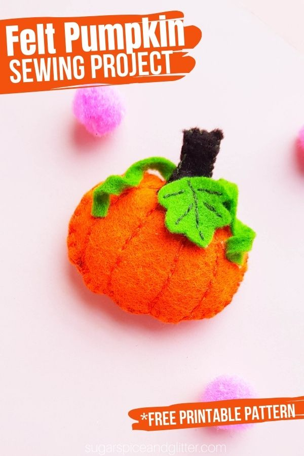 Grab your free printable sewing pattern to make this super simple felt pumpkin. Make them small for hair accessories, ornaments or pocket pals, or make it large for a pumpkin pillow