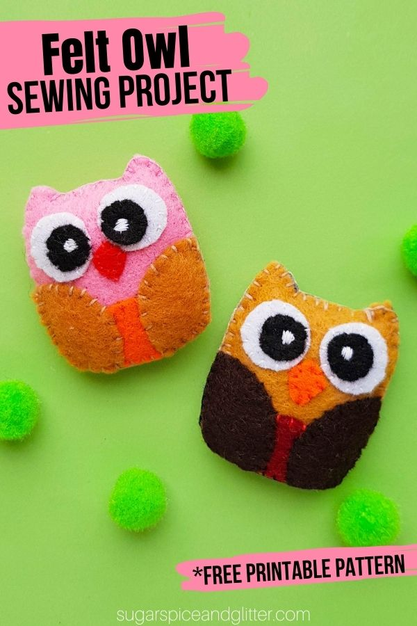 A super simple owl sewing project for kids with free printable owl sewing template. These owls can be made into a large pillow, or made tiny for ornaments or a homemade felt accessory.
