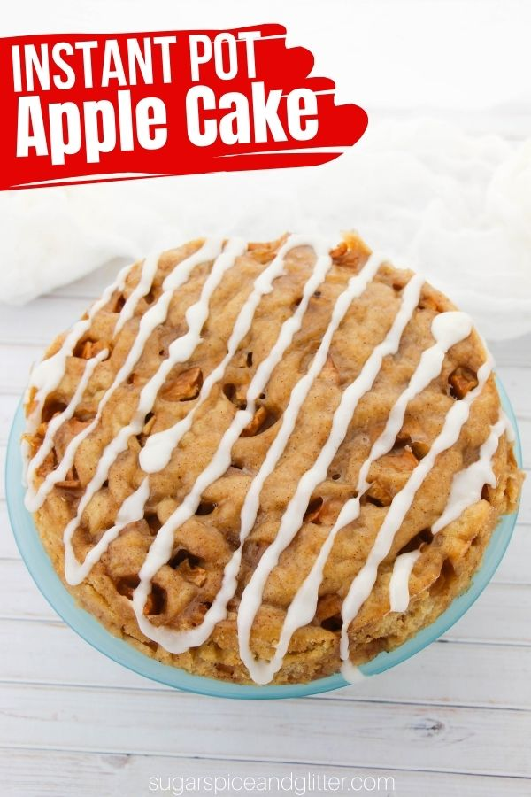 How to make the perfect tender, melt-in-your-mouth apple cake in the Instant Pot! Plenty of apple pie spice, chopped up apples and an optional vanilla drizzle make this easy fall cake a winner!