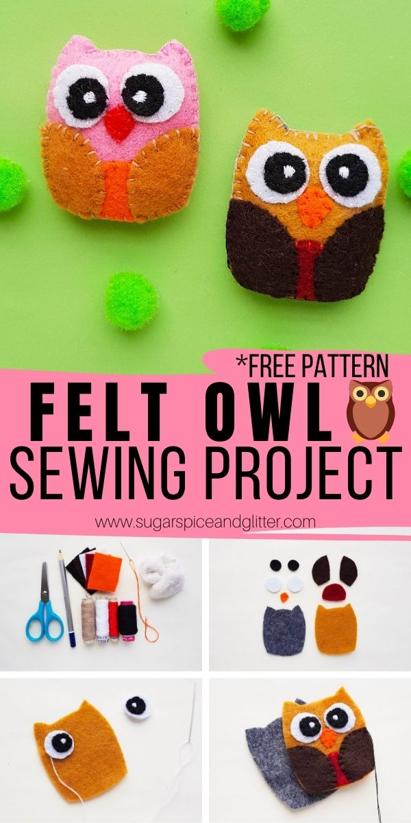 How to sew a felt owl using our free printable owl sewing pattern - a perfect fall sewing project for kids or grown ups! Make them tiny as little pocket palls or ornaments, or make a bigger owl to use as a throw pillow