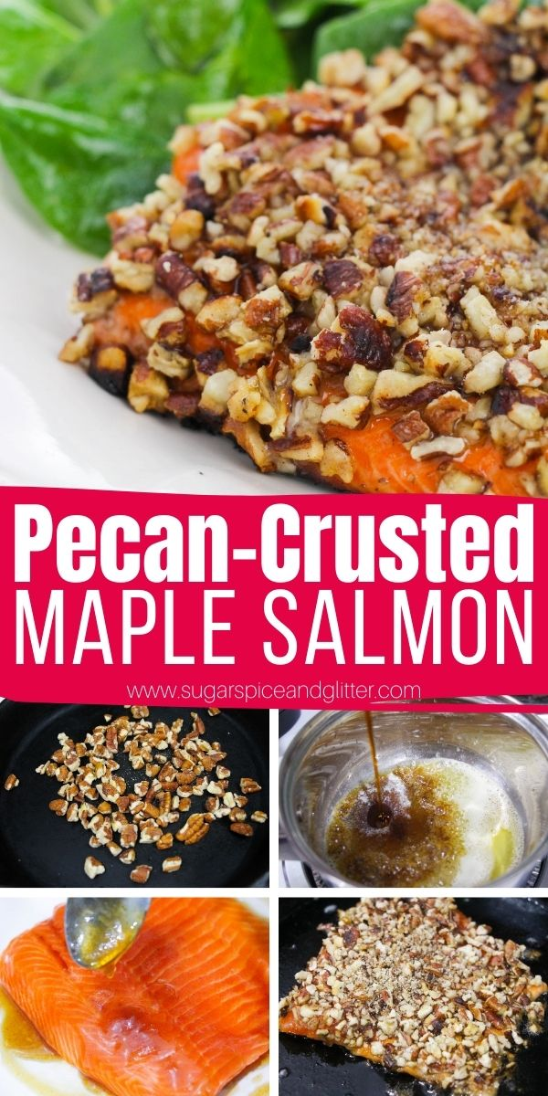How to make pecan-crusted maple salmon, a delicious seafood recipe the whole family will love. This restaurant-quality meal comes together in less than 20 minutes and is a real show-stopper
