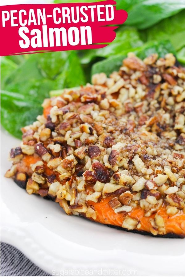 A delicious and indulgent pecan crusted salmon recipe with a maple mustard glaze, perfect for nights when you want something special but don't want to spend all day in the kitchen. This salmon recipe is absolutely restaurant-quality.