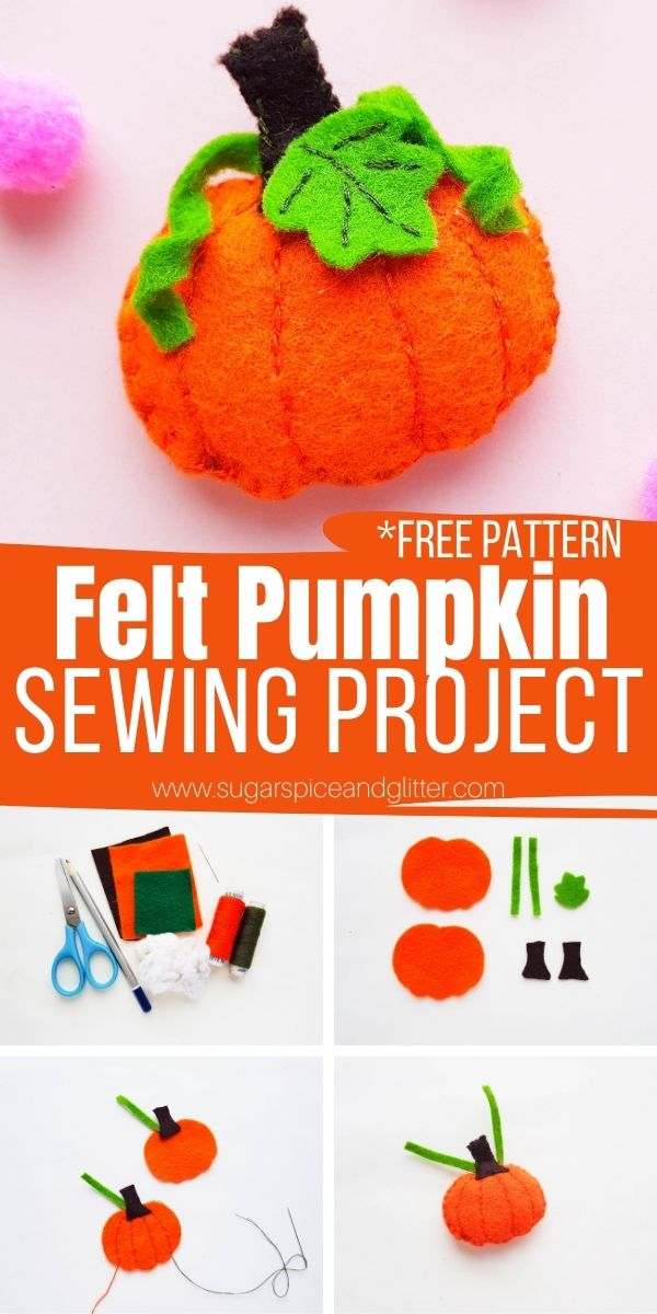 How to sew a felt pumpkin - perfect for a cute hair accessory, ornament or pumpkin pocket pal. Or make it bigger for a pumpkin pillow! Includes a free printable sewing pattern