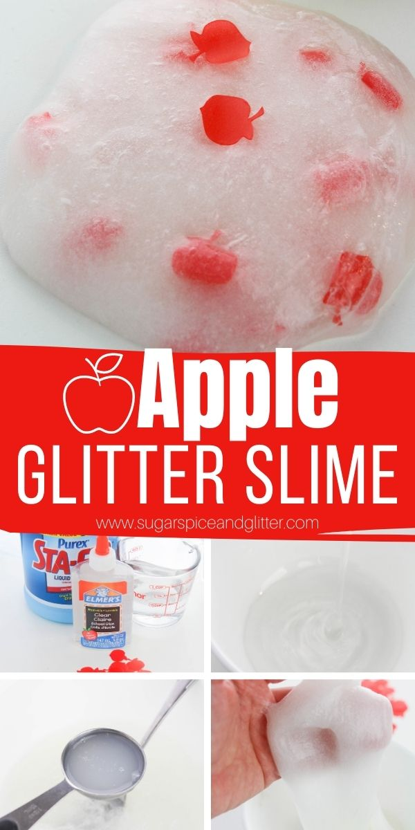How to make squishy, stretchy apple glitter slime using apple scent and apple confetti. This simple liquid starch slime can be made with as little as 3 ingredients