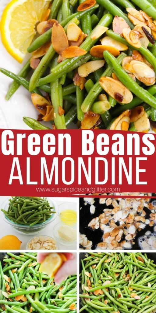 Browned butter. Lemon. Toasted almond slices. And perfectly sauteed green beans. Green Beans Almondine is simplicity at it's finest. A super simple vegetable side dish ready in less than 10 minutes