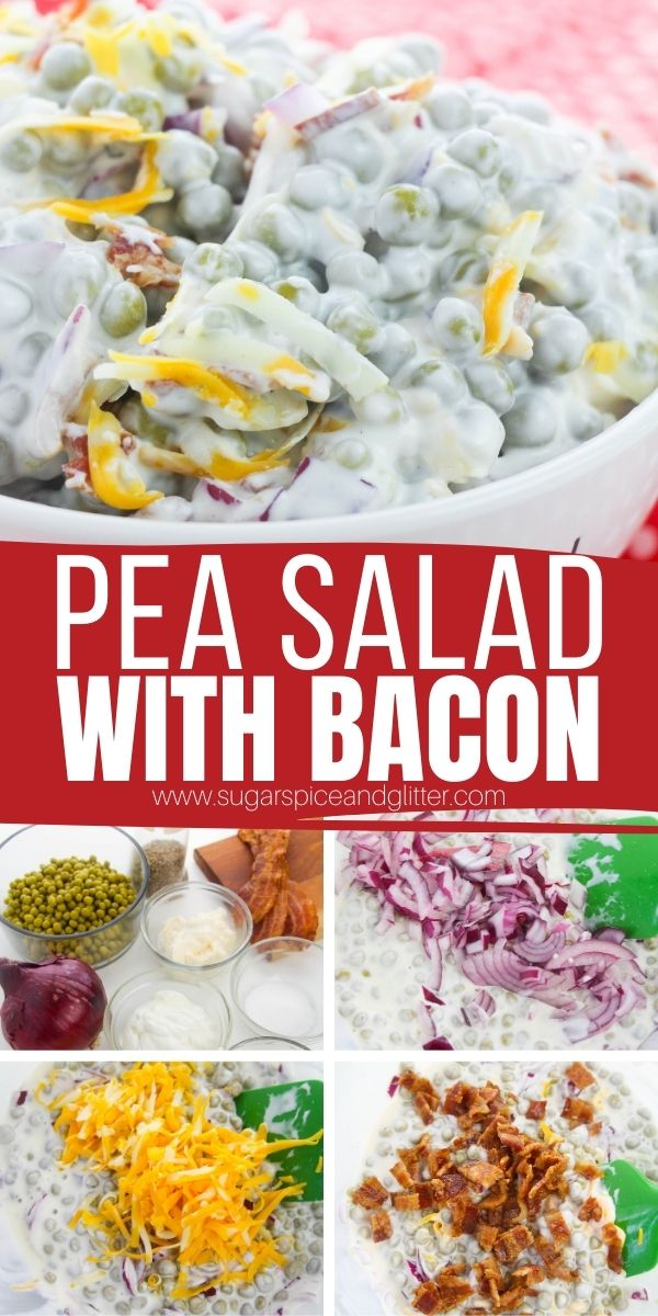 How to make Green Pea Salad with Bacon, Red Onions and Cheese - a classic Southern salad recipe perfect for potlucks, BBQs or just a casual weeknight side dish. Swap out the peas with broccoli, the bacon with leftover ham, etc - there are so many easy substitutions based on what you have on hand