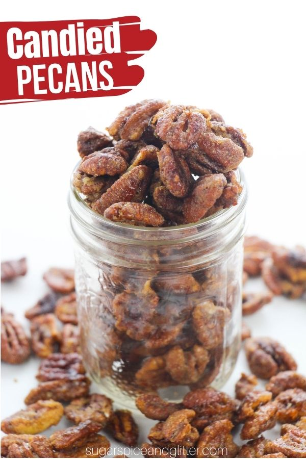 Crunchy, brown sugar-vanilla candied pecans just like you can find at gourmet stores. This simple candied pecan recipe makes a delicious and thoughtful homemade gift and is the perfect satisfying, crunchy snack. Make it sweet or sweet and spicy