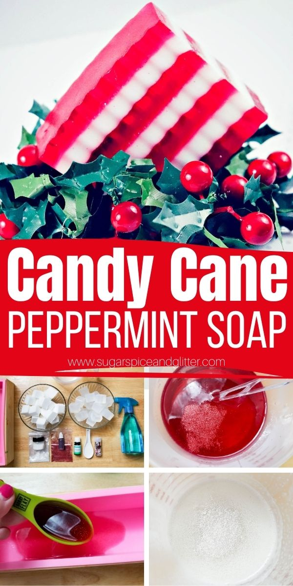 How to make candy cane striped Peppermint Bar Soap - a festive way to add some Christmas cheer to your bathroom or a practical homemade Christmas gift