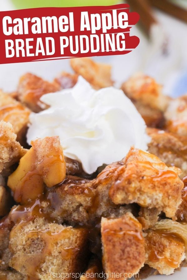 This Caramel Apple Bread Pudding is an indulgent caramel apple dessert perfect for fresh fall apples! Top with apple vanilla butter sauce or a simple drizzle of caramel sundae sauce for the perfect fall brunch or fall dessert
