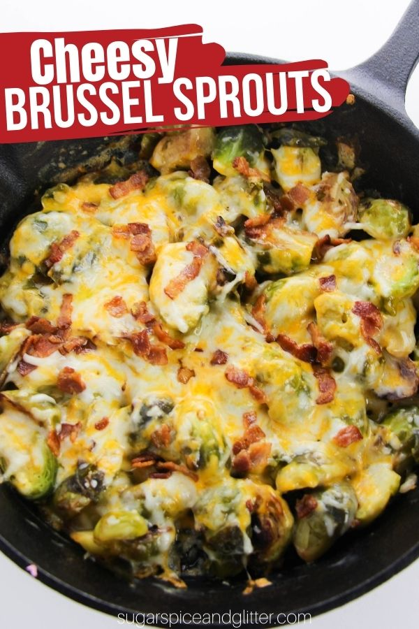 A creamy, cheesy brussel sprout bake made completely in a cast iron skillet. This is hands-down our family's favorite Brussel Sprouts recipe - easy enough for family nights but special enough for the holidays! Even Brussel Sprouts nay-sayers will love this cheesy, creamy vegetable side dish topped with cheese and bacon
