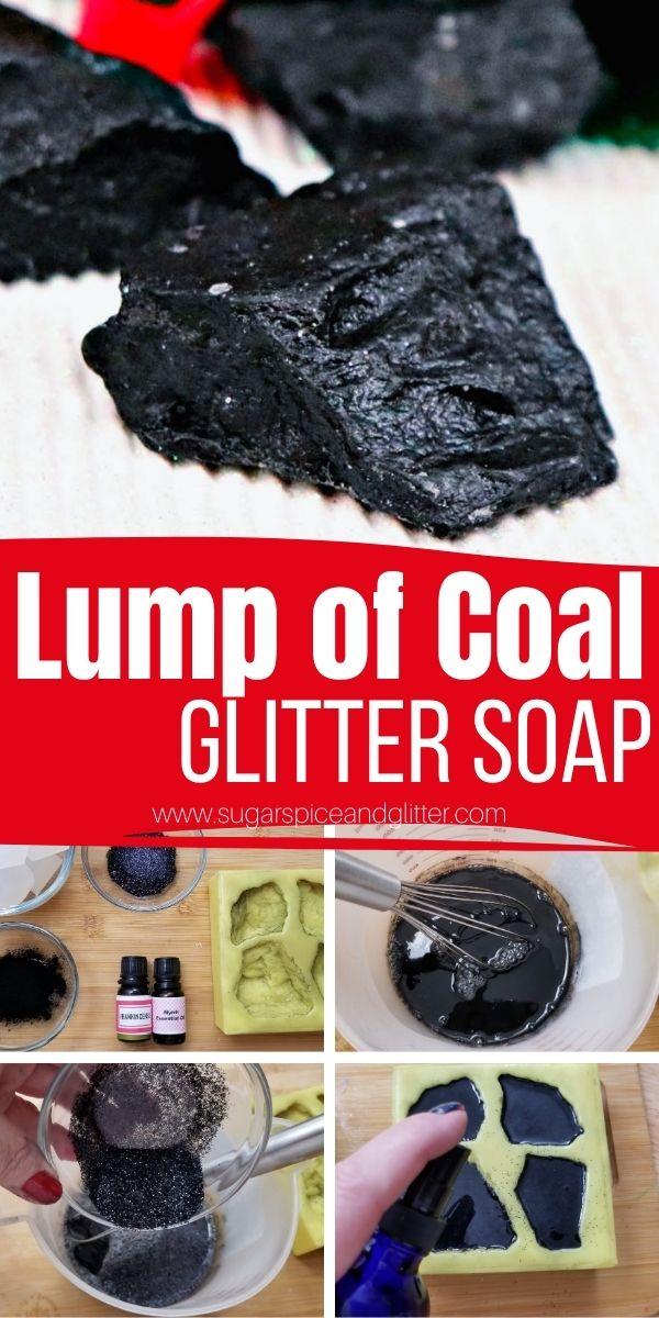 How to make activated charcoal Lump of Coal Soaps, a funny homemade Christmas gift that is actually practical, giving a deep, invigorating clean