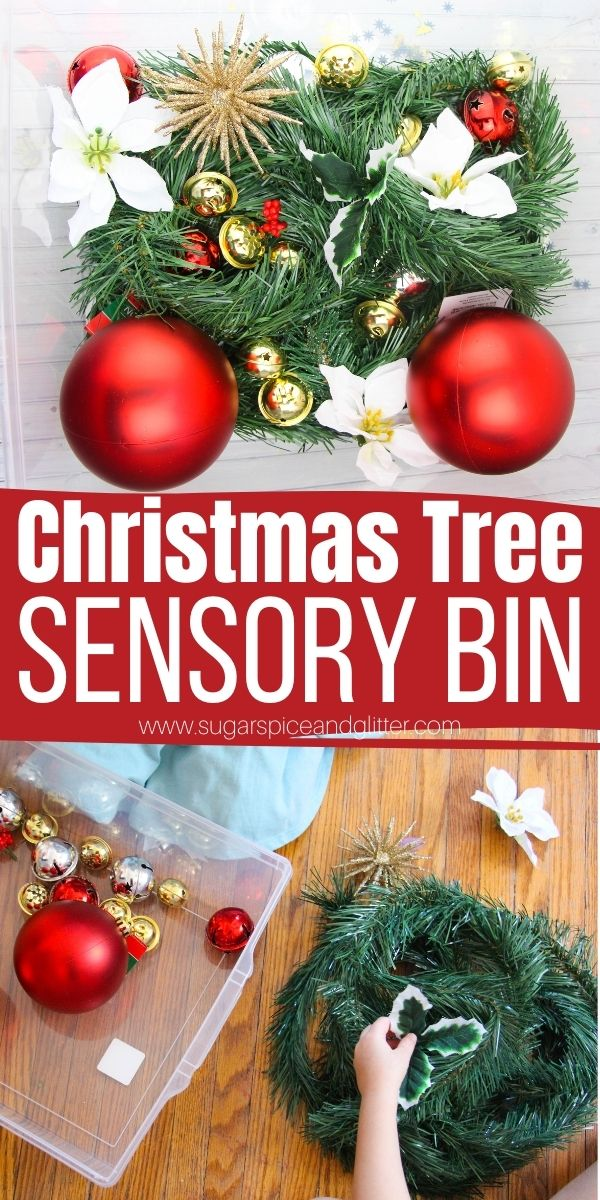 How to make a Christmas Tree Sensory Bin your kids will love! The perfect solution for when kids are constantly playing with the Christmas tree and you're worried about ornaments breaking, this sensory bin allows them to explore to their heart's content while learning, too!