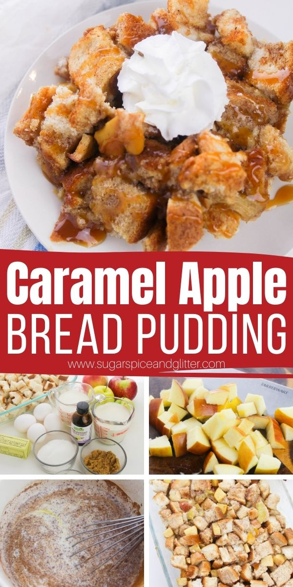 How to make an indulgent caramel apple bread pudding. This bread pudding recipe is tender, not-too-sweet and absolutely delicious with apple pie spice, baked apples and brown sugar custard.