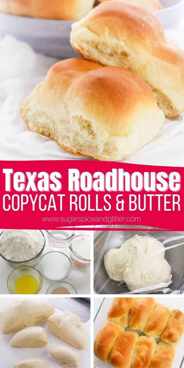 How to make the BEST EVER Texas Roadhouse Rolls plus that amazing Cinnamon Honey Butter. These rolls are the perfect combination of chewy and fluffy and when slathered with that cinnamon honey butter, they disappear quickly!