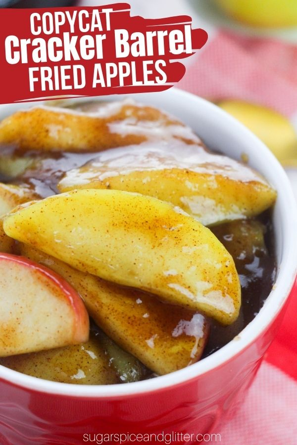 A super simple 15-minute recipe for Cast Iron Skillet Fried Apples just like Cracker Barrel! This Copycat Cracker Barrel recipe is perfect for topping all of your favorite brunch recipes or enjoying as a light dessert