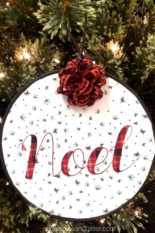 Cricut Embroidery Hoop Ornament with Noel SVG