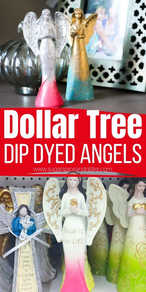 How to upcycle your Dollar Tree decor items to look classy and match your home's decor by transforming them with a classy dip dye effect. We outline three different ways to give the dip dye effect using materials you probably already have on hand