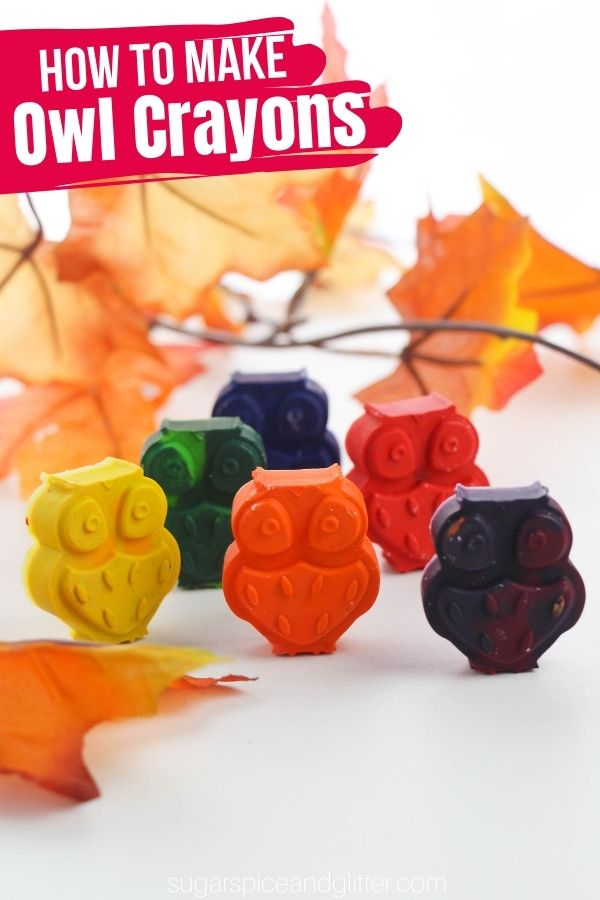These DIY block crayons are so incredibly easy to make in a variety of shapes - like super cute owls for fall! Block crayons are great for helping develop fine motor skills and pencil grasp while being a fun and unique coloring tool