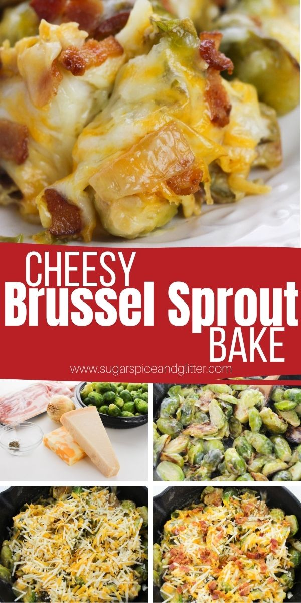 How to make a cheesy Brussel sprout bake using just a handful of everyday ingredients and less than 30 minutes of time. This delicious vegetable side dish is a family favorite, perfect for busy weeknights but special enough for the holidays