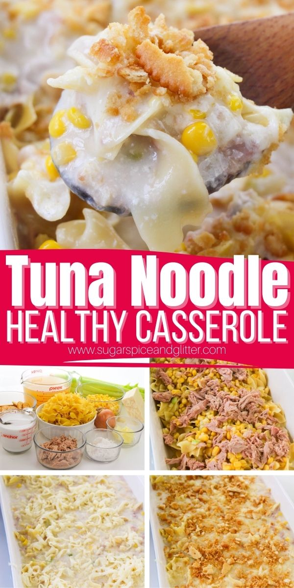 How to make an easy tuna noodle casserole without canned soup. This tuna noodle casserole features a creamy, from-scratch bechamel sauce that is lightly seasoned with garlic and dill combined with buttery egg noodles, tender veggies and juicy tuna then topped with cheesy and toasted Ritz cracker crumbs. This is family comfort food, done right.