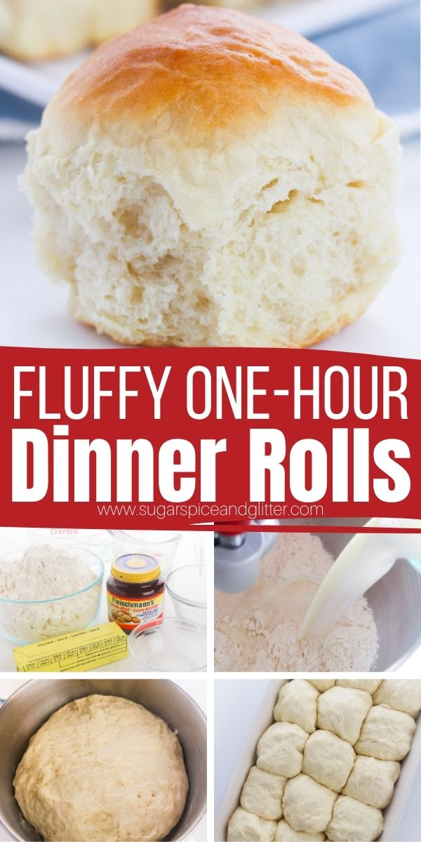 How to make soft, fluffy dinner rolls in just one hour! These one hour dinner rolls require one bowl, six ingredients and just one hour of your time - and only 15 minutes of that is active, the rest is just rising and baking. Buttery, soft, fluffy and with the perfect amount of chew.