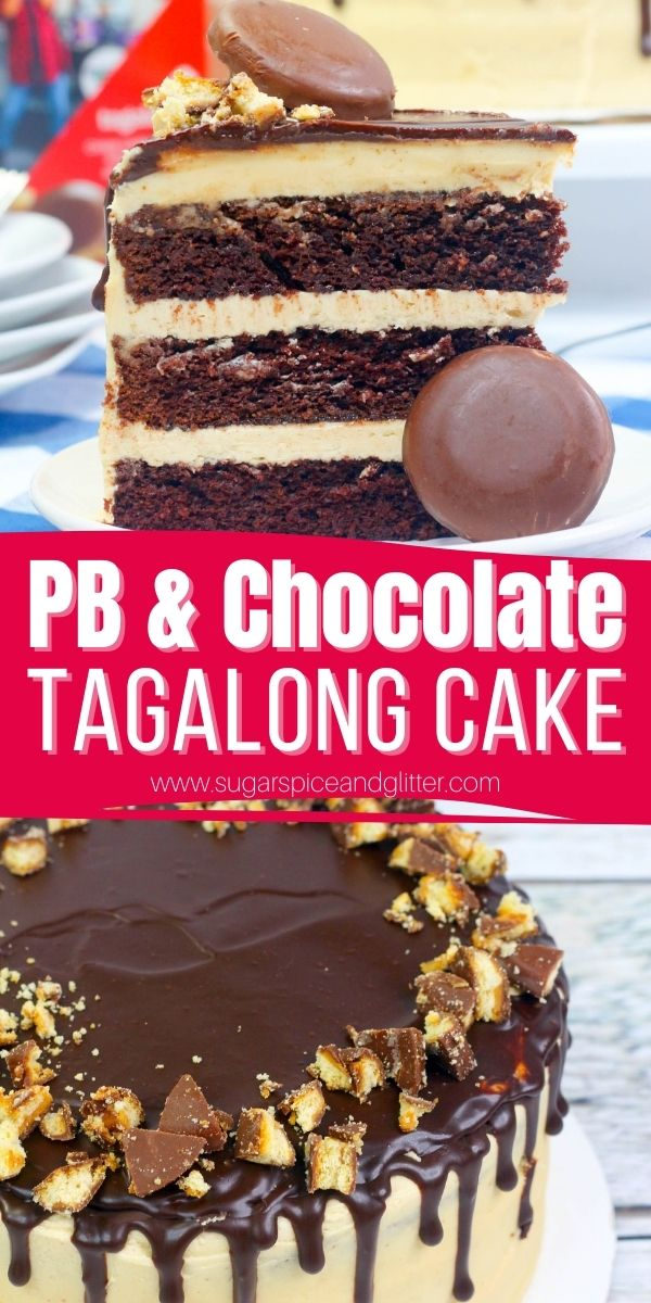 How to make the ultimate Peanut Butter Chocolate Cake, with layers of tender chocolate cake, luscious peanut butter frosting and a crunchy chocolate ganache drip. A fun twist on a Tagalong Cookie - in cake form!
