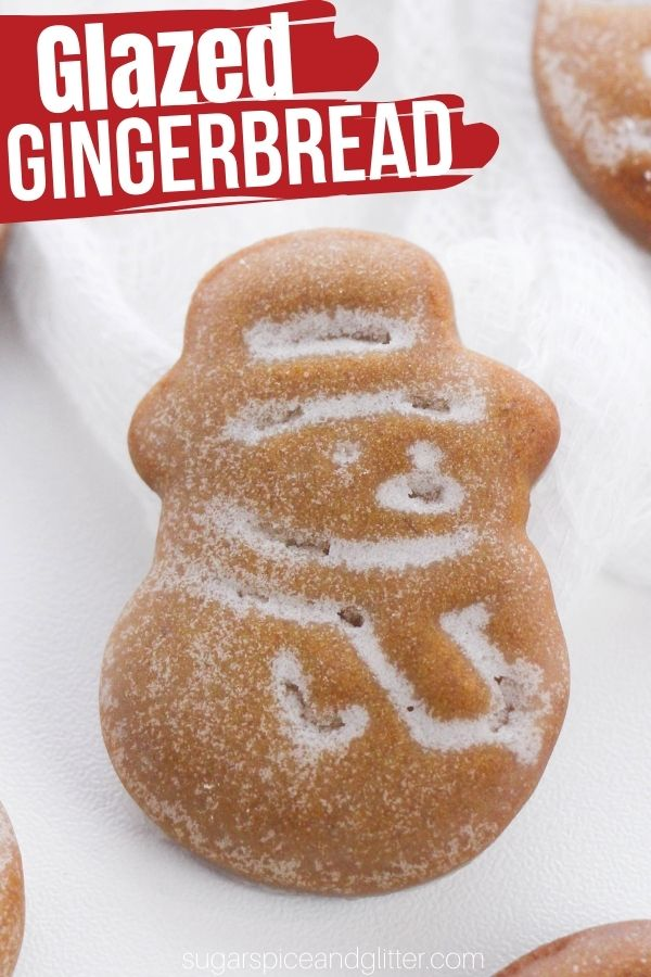 Crunchy glazed gingerbread cookies with a soft inside, these iced gingerbread cookies are better than any store-bought gingerbread cookies you will ever taste!
