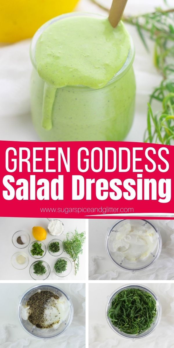 How to make Green Goddess salad dressing, a herb and greek yogurt-based salad dressing without the added sugar of most salad dressings. This gourmet salad dressing is super easy to make and lasts for a week