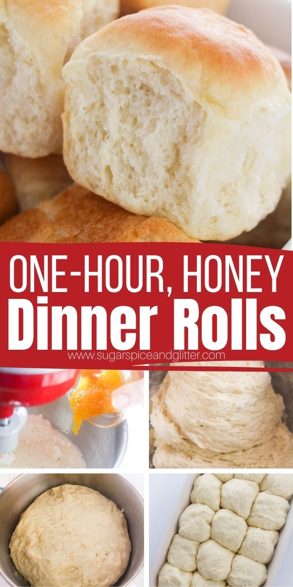 How to make dinner rolls in less than one hour! These honey dinner rolls are naturally sweetened, with less than 1/3 teaspoon of sugar per roll. 15 minutes of prep time results in light, fluffy rolls perfect for any occasion