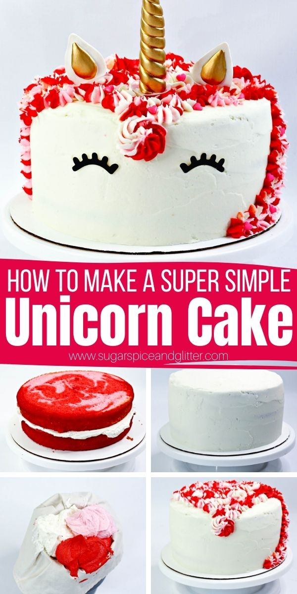 How to make a unicorn cake - whether you're making it for a unicorn birthday party, Valentine's Day party or just a special dessert. We use some sneaky hacks to create a super simple unicorn cake that saves you from paying the big bucks for a bakery unicorn cake.