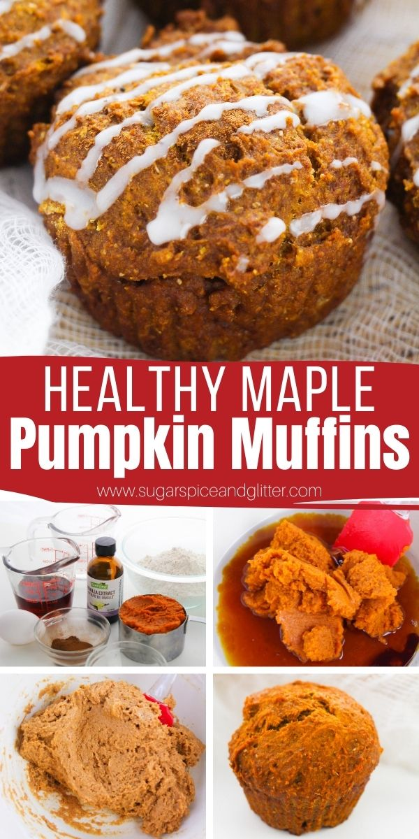 How to make healthy pumpkin muffins with no sugar - sweetened naturally with maple syrup and cinnamon. Top with coconut sugar or a monkfruit sweetener glaze to take these muffins over the top!