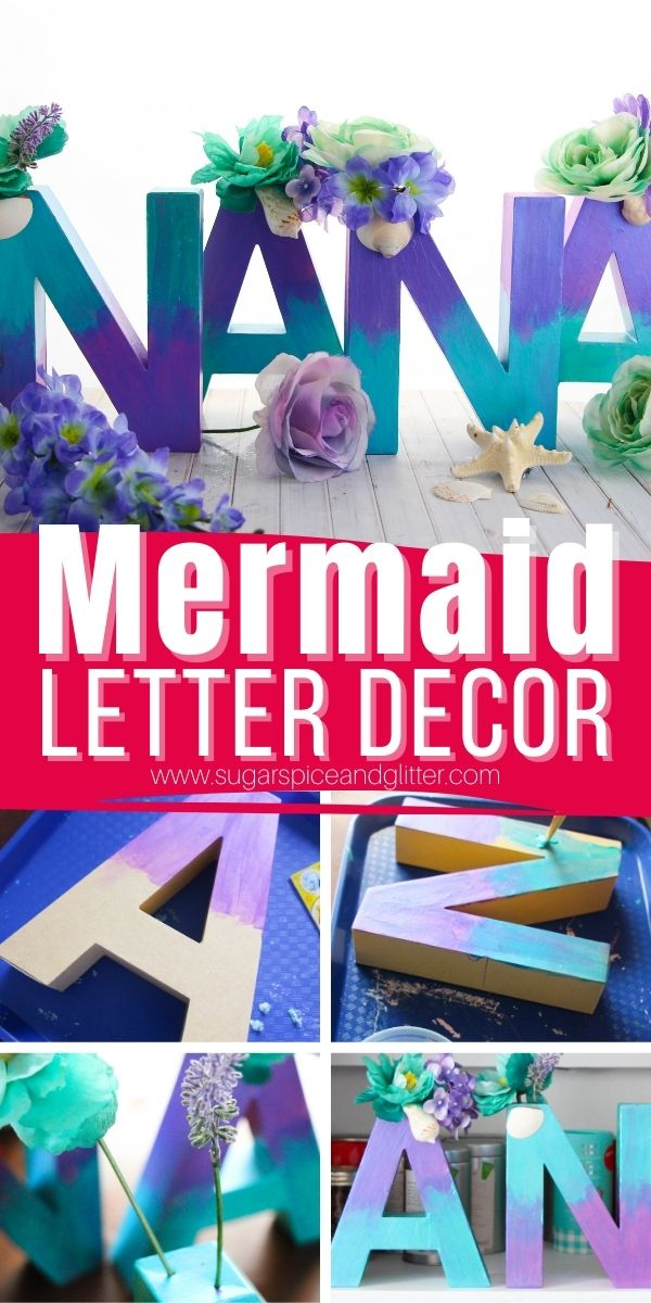 How to make your own DIY Mermaid Decor Letters, a fun way to add some whimsy to your child's room or a Mermaid Birthday Party for a fraction of the price of ordering custom made mermaid letters!