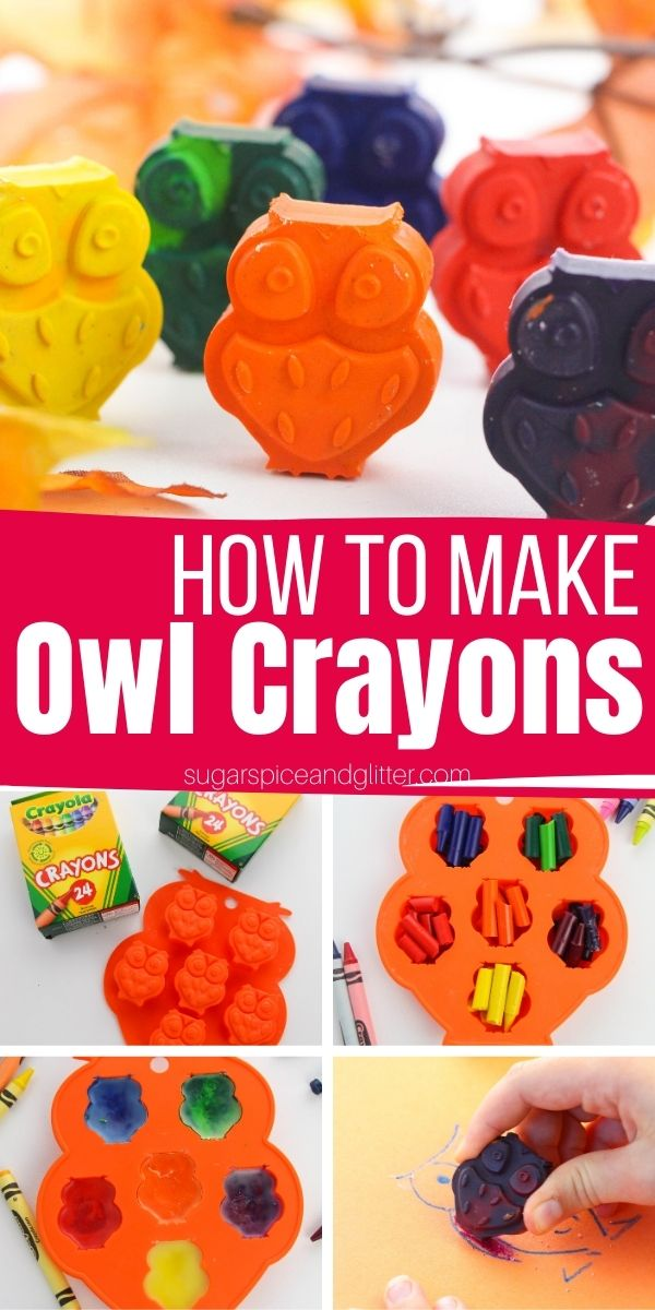 How to make Owl Crayons, a fun homemade gift for kids that helps develop fine motor skills essential for pencil grasp. Kids will love coloring with these unique owl crayons to create all of their fall masterpieces