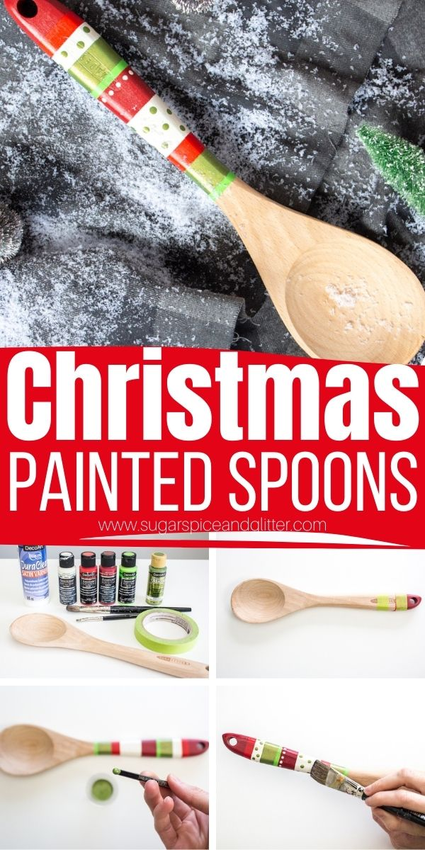 How to paint wooden spoons, a step-by-step tutorial for these cute and thoughtful Christmas Painted Spoons. The perfect homemade gift for a baker, pair with some baking supplies or homemade cookies