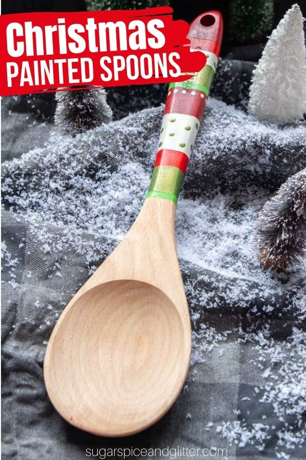 A pretty and festive Christmas gift, these Painted Wooden Spoons are a practical way to add some Christmas magic to your holiday baking. They make a thoughtful and practical gift for the baker in your life.