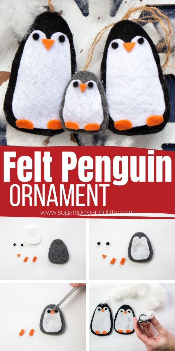 How to make this family of cute felt penguin ornaments using your Cricut machine! Use our penguin SVG file to make these easy no-sew felt ornaments