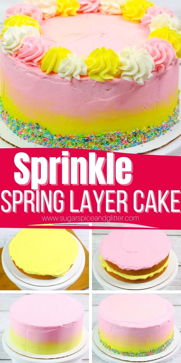A super simple step-by-step tutorial for a homemade Sprinkle Layer Cake, perfect for birthdays or celebrations. Features an easy ombre frosting, dollops of brightly-colored buttercream and a sprinkle trim