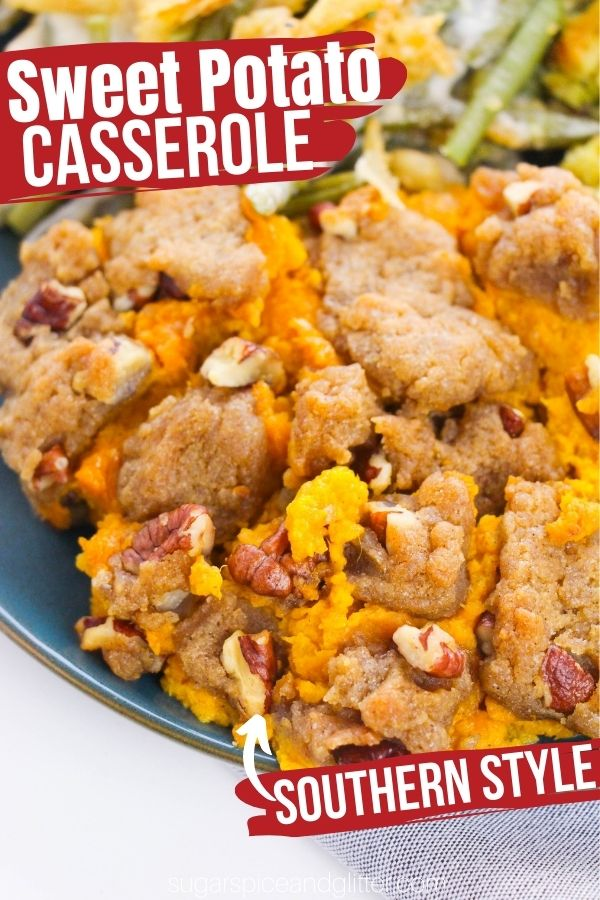 Who says sweet potato casserole just belongs at the holidays? With our super simple recipe, you can enjoy this classic Thanksgiving side dish any time of the year with it's creamy, airy sweet potato filling and crunchy pecan streusel topping. It's indulgent, delicious and super easy