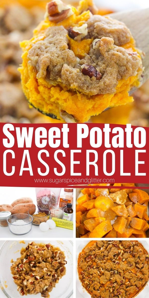 How to make the BEST Southern Sweet Potato Casserole with Pecan Topping. Just 15 minutes of prep time and a few humble, everyday ingredients transformed into an airy, light sweet potato casserole with a crunchy streusel topping. This indulgent side dish makes any meal special - not just for Thanksgiving dinner!