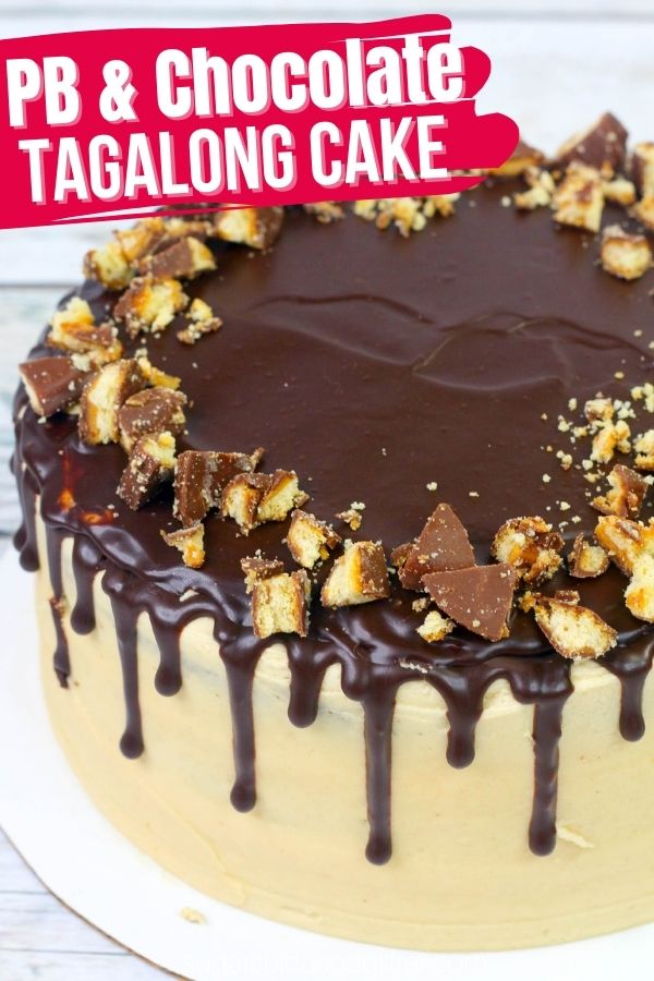 The ultimate Peanut Butter and Chocolate drip cake! This PB & Chocolate cake is inspired by the Girl Scouts Tagalong Cookie and features a tender chocolate cake, luscious peanut butter buttercream and crunchy chocolate ganache drips before being topped with crushed tagalong cookies